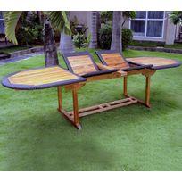 Wood-en-Stock - table de jardin en teck et résine grande taille 200-250-300 x 100