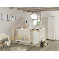 Galipette - Chambre bébé lit évolutif + tiroir + armoire finition décor pin blanchi Sacha
