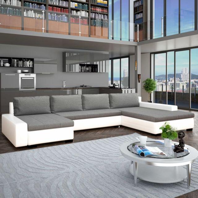 Vidaxl Canapé-lit modulaire Similicuir Blanc et gris clair