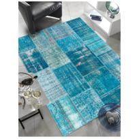 UN AMOUR DE TAPIS - Tapis VINTAGE PATCHWORK Tapis Naturel par Unamourdetapis bleu 170 x 240 cm
