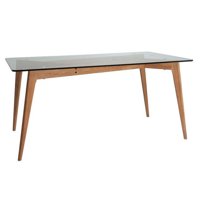 Table à manger rectangulaire en verre piètement bois Longueur 160 cm Begonia