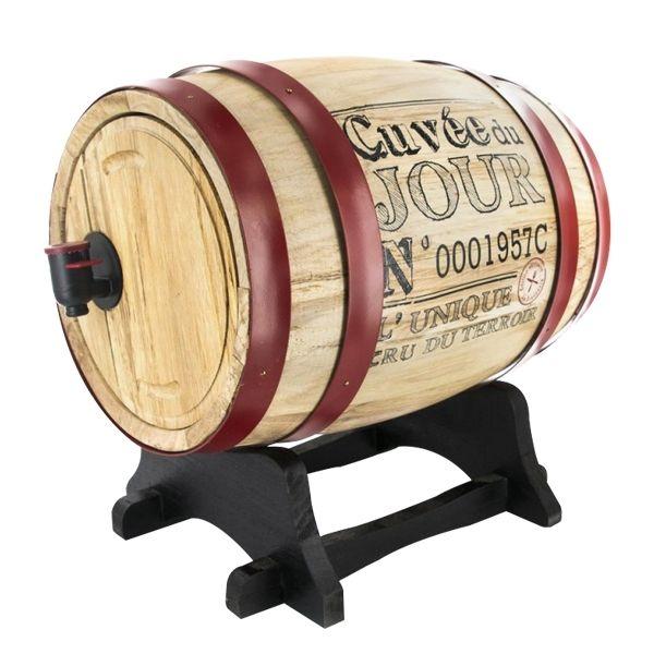 Totalcadeau Tonneau en bois pour la distribution de vin en bois 3 litres