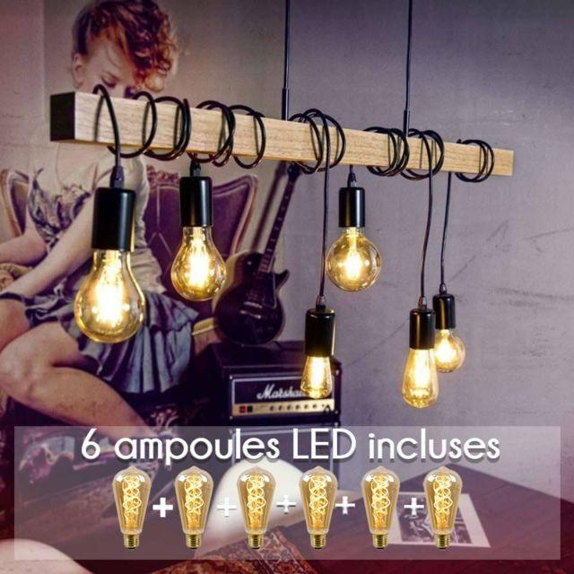 Lampe Noir Suspendue Bois Pack Cm Linéaire Townshend L100 Eglo IfgyYbv76