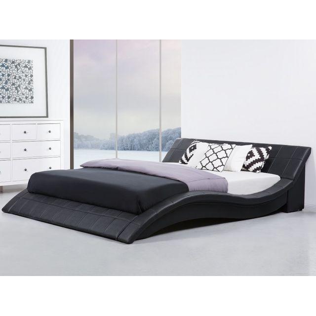 Beliani Lit design en cuir - lit double 180x200 cm - sommier inclus - Vichy - noir