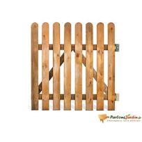 Jardipolys - Portillon en bois lames droites demi rondin Stackette L100 x H100cm