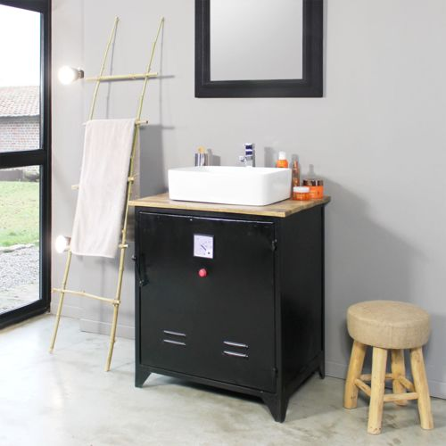 made in meubles meuble salle de bain industriel 1 vasque style casier volt pas9 pas cher. Black Bedroom Furniture Sets. Home Design Ideas
