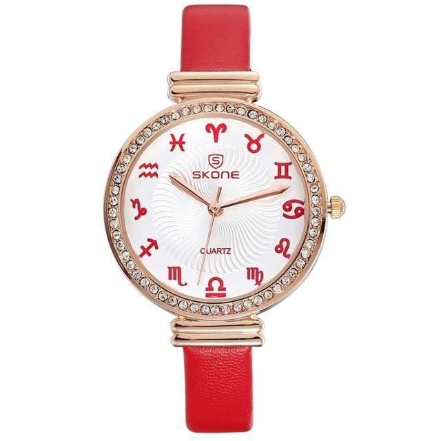 Wewoo - Montre Constellations échelle cadran strass femme mode à quartz  avec bracelet en cuir rouge. Couleur de ... 71681a7fb49