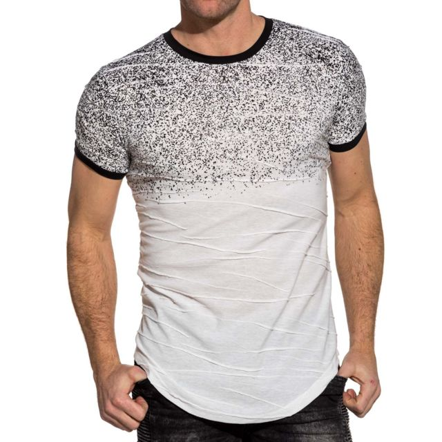 7a3ef1abc55de Marque Generique - Tee-shirt homme blanc oversize effet peinture ...