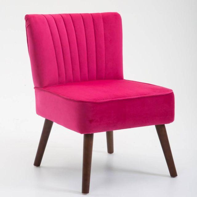 inside 75 fauteuil design scandinave go t velours fuchsia rouge pas cher achat vente. Black Bedroom Furniture Sets. Home Design Ideas