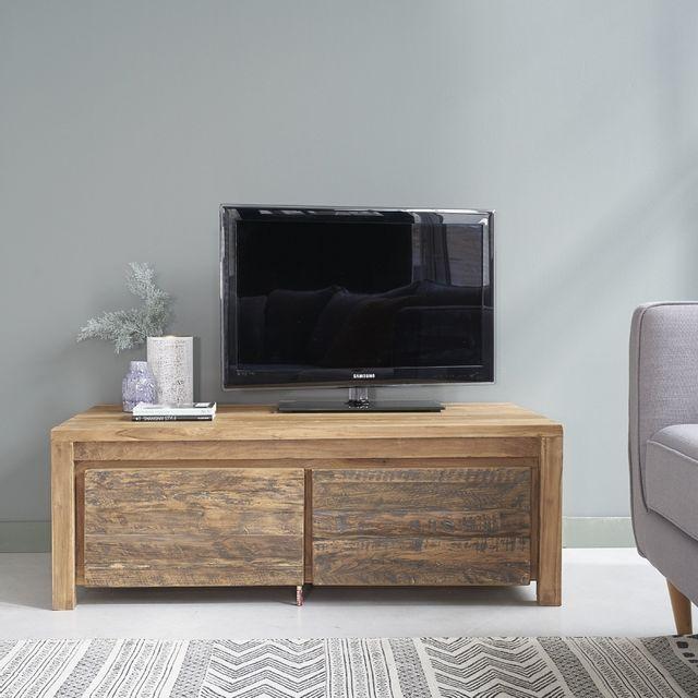 Bois Dessus Bois Dessous Meuble Tv en bois de teck recyclé 120 Cargo