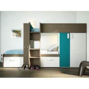 vente unique lits superpos s julien 2x90x190cm armoire int gr e taupe et bleu pas cher. Black Bedroom Furniture Sets. Home Design Ideas