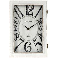 Promobo - Boite A Clés De Rangement Horloge De Gare 2en1 A Poser Ou Suspendre Décor Londres Blanc