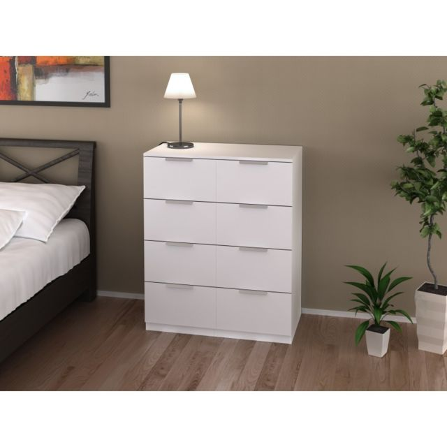 ma maison mes tendances commode 8 tiroirs blanche 80 cm. Black Bedroom Furniture Sets. Home Design Ideas