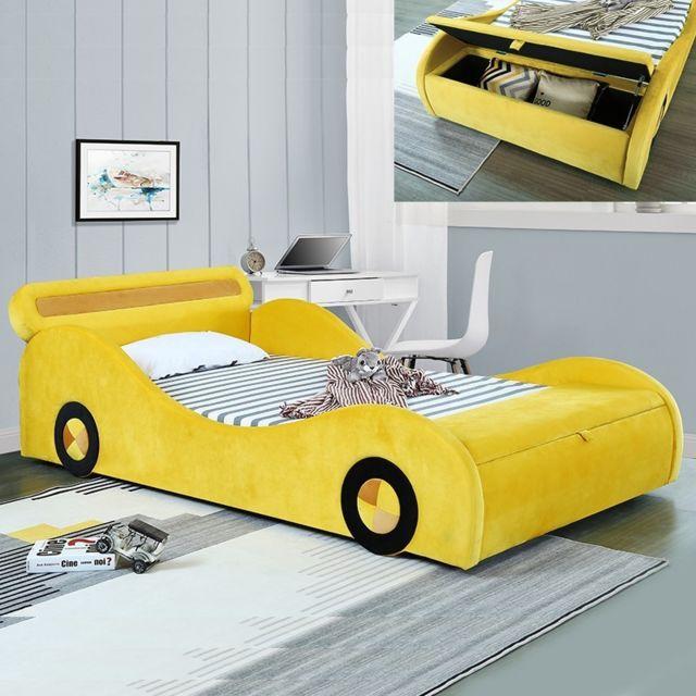 Meubler Design Lit enfant voiture avec rangement Speed - Jaune - 90x190