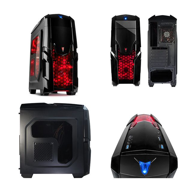 """Pack complet Pc Gamer Advanced Intel i5-7500 4x 3.40Ghz max 3.8Ghz Geforce Gtx 1050 2Go, 8 Go Ram Ddr4 2133Mhz, 250 Go Ssd, 1 To Hdd, Usb 3.0, Wifi, CardReader, Hdmi2.0. Unité centrale avec moniteur Tft-led 23.6"""", clavier & souris small"""
