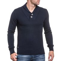 Deeluxe - Pull bleu navy maille et col montant châle