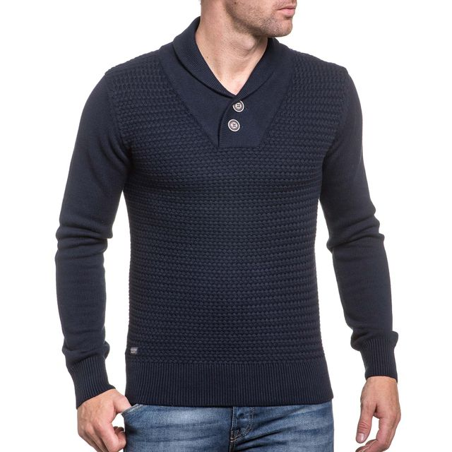 Deeluxe 74 Pull bleu navy maille et col montant châle