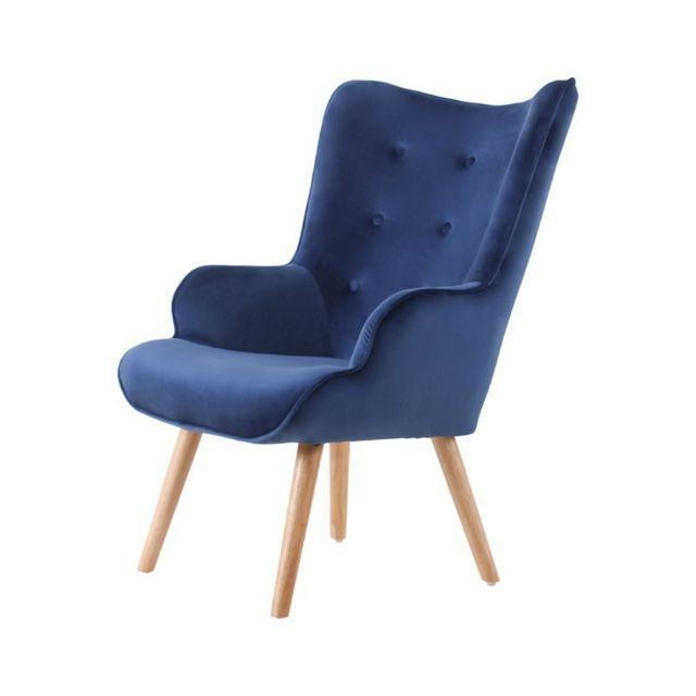 Zons Helsinki Sofa With velour et Pieds en bois 69x76xH98cm Bleu