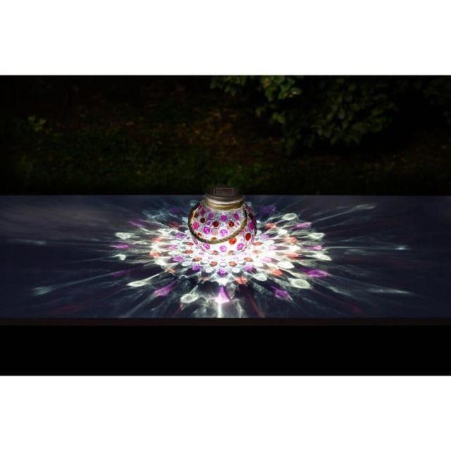 Icaverne Decoration Lumineuse Décoration de table a énergie solaire - Effet 3D - Rouge