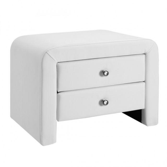 Meubler design table chevet design en simili cuir eva - Table de chevet blanche design ...