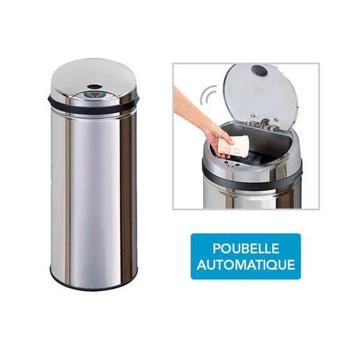 Frandis poubelle automatique inox sensor 45l pas Achat poubelle cuisine