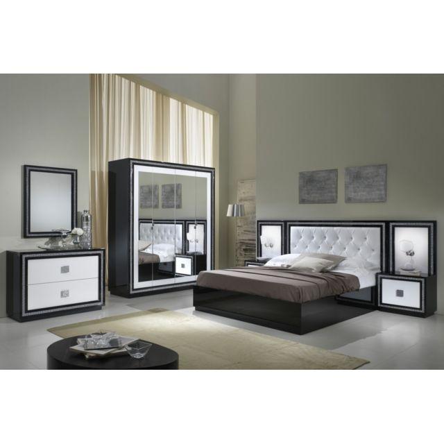 Chambre à coucher model Kristel Noir-Blanc