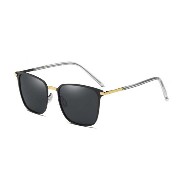 4f508a2f8162e Wewoo - Lunettes de soleil or et noir gris pour hommes Fashion Uv400 +  Lunettes de