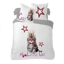 Dourev - Housse de couette 220x240 cm Little Cat 100% coton + 2 taies