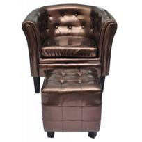 Destockoutils - Fauteuil Chesterfield brun/bronze capitonné avec repose pied