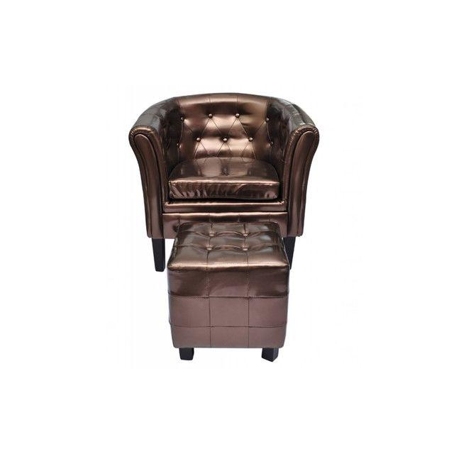 Destockoutils Fauteuil Chesterfield brun/bronze capitonné avec repose pied