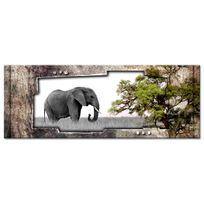 Declina - Tableau panoramique éléphant sauvage sur toile imprimée pas cher