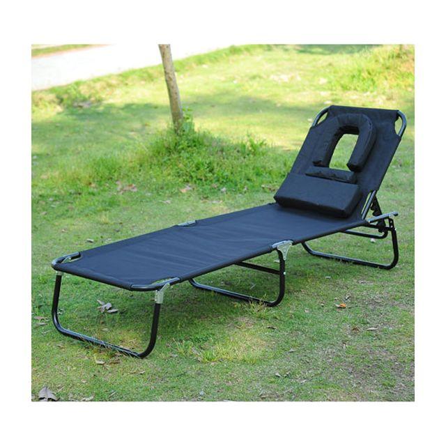 Homcom transat de jardin chaise longue pliante bain de soleil pour lecture noir 42