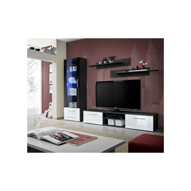 Price Factory Meuble Tv Galino A Design Coloris Noir Et Blanc