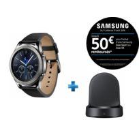 Samsung - Montre connectée Gear S3 Classic - SM-R770NZSAXEF - Argent + Socle de chargement induction Noir