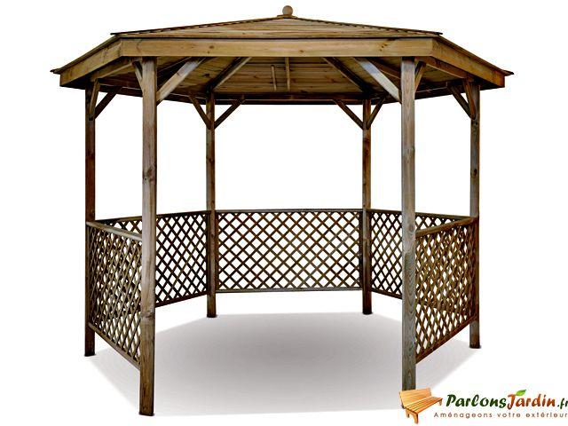 Jardipolys - Kiosque de jardin en bois hexagonal Lora