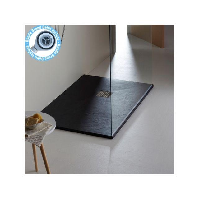 Receveur De Douche Noir Pas Cher.Receveur Extra Plat A Poser 80x120 Moderne Reflet Ardoise Noir