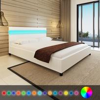 Rocambolesk - Superbe Lit en cuir artificiel blanc avec tête de lit Led 200 x 160 cm neuf