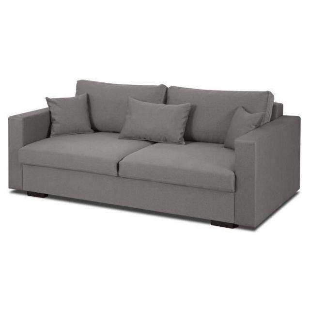 GÉNÉRIQUE CANAPE - SOFA - DIVAN MALMA Canapé droit fixe 3 places - Tissu gris - Classique - L 192 x P 100 cm