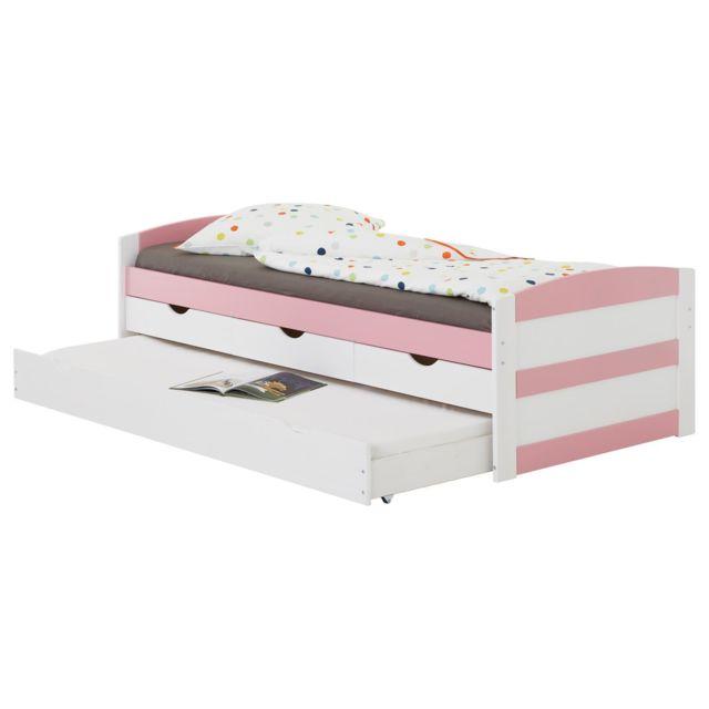 IDIMEX Lit gigogne JESSY lit enfant fonctionnel avec tiroir-lit et rangements 3 tiroirs, couchage 90 x 200 cm, pin massif lasur