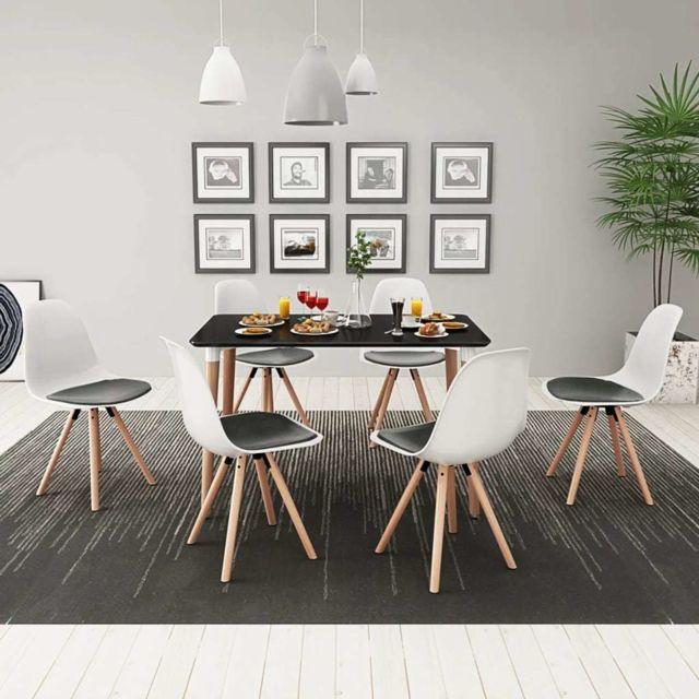 Vidaxl Ensemble de table et de chaises salle à manger 7 pièces Noir et blanc