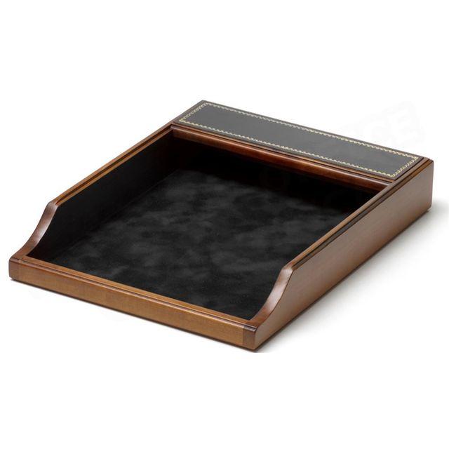volumica corbeille courrier bois et cuir noir collection trianon pas cher achat vente. Black Bedroom Furniture Sets. Home Design Ideas