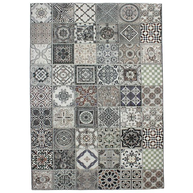 monbeautapis tapis motifs carreaux de ciment multi gris 160x230cm mozaic pas cher achat. Black Bedroom Furniture Sets. Home Design Ideas