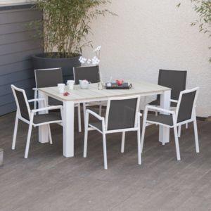 squareline salon de jardin 6 places aluminium et composite 1 table 6 fauteuils olenz pas. Black Bedroom Furniture Sets. Home Design Ideas