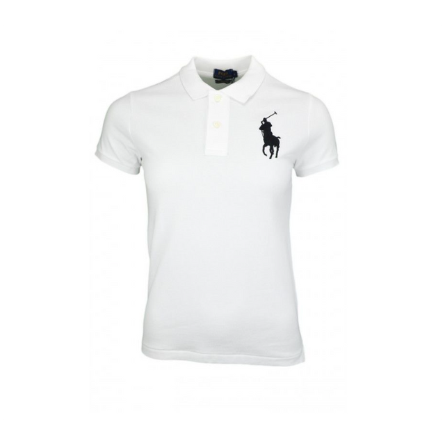 Ralph Lauren - Polo Blanc Slim-fit Big Poney Bleu - pas cher Achat   Vente Polo  homme - RueDuCommerce 792b41443eca