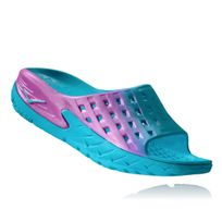 Hoka One One - W Ora Recovery Slide Bleue Et Rose Chaussures detente et relaxation