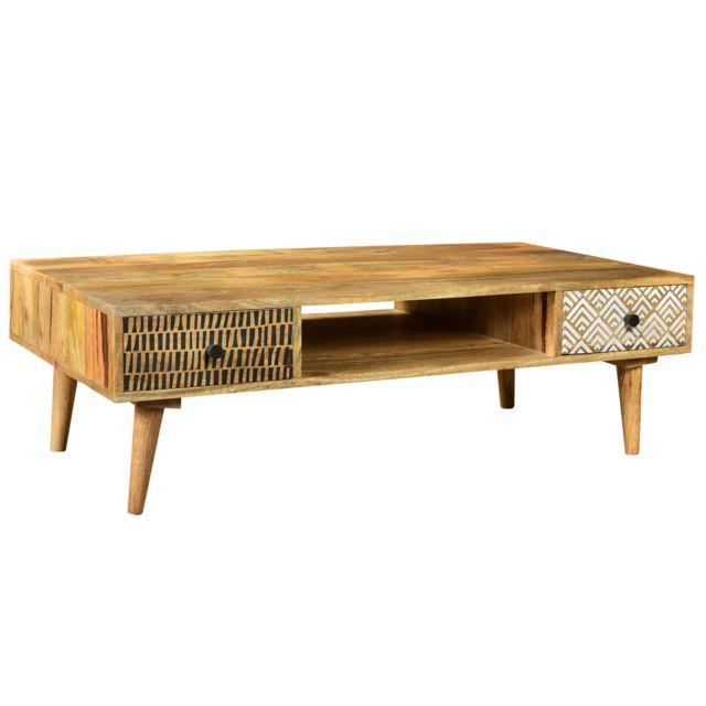 Rendez Vous Deco Table basse Tali en bois 2 tiroirs