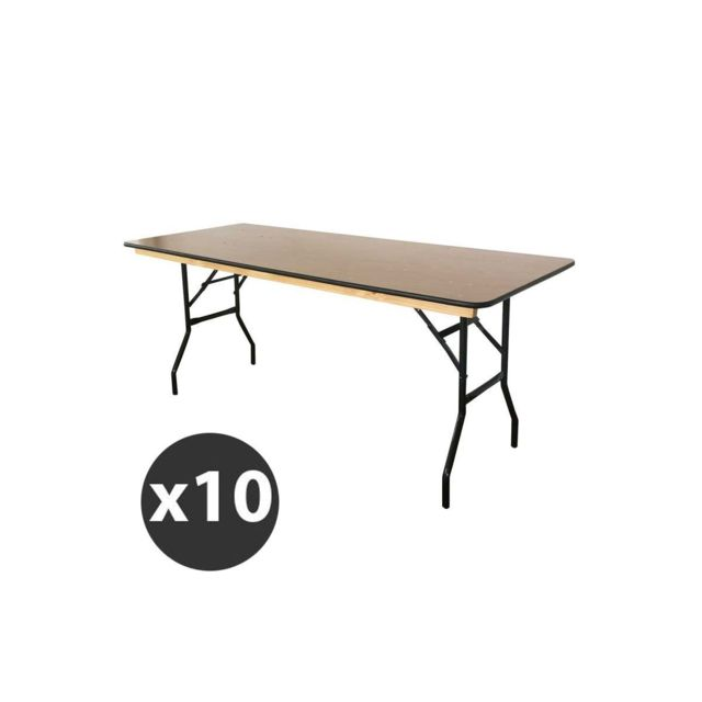 Mobeventpro Table pliante en bois 180 cm - Lot de 10