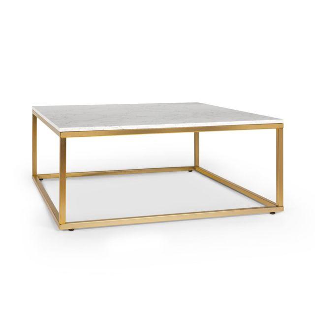 BESOA White Pearl 2 Table basse de salon 81,5 x 35 x 81,5cm LxHxP Design marbre doré & blanc