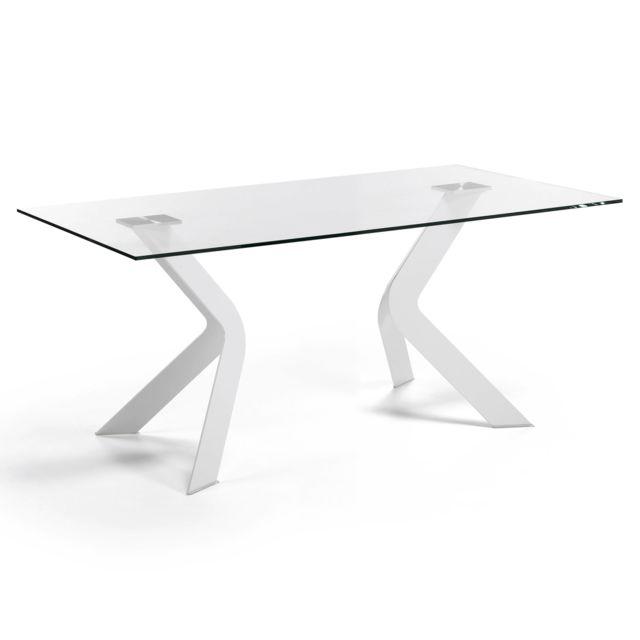 Kavehome Table Westport 180x90 cm, blanc et neutre