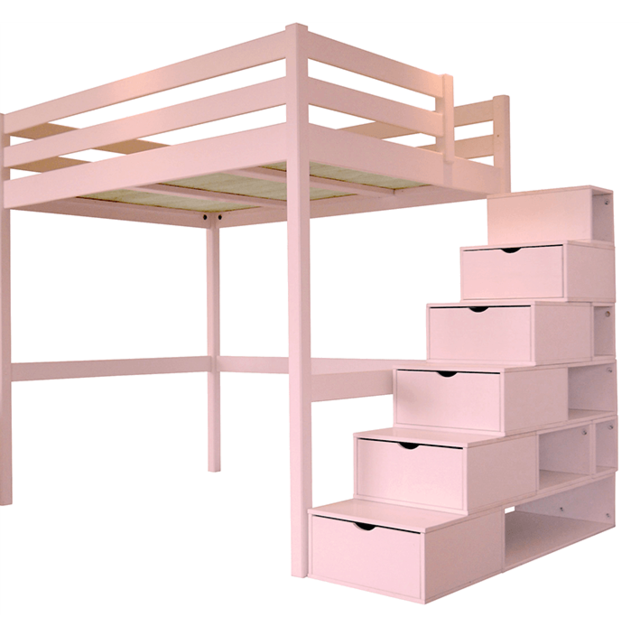abc meubles lit mezzanine sylvia avec escalier cube pin massif rose pastel 120cm x 200cm. Black Bedroom Furniture Sets. Home Design Ideas